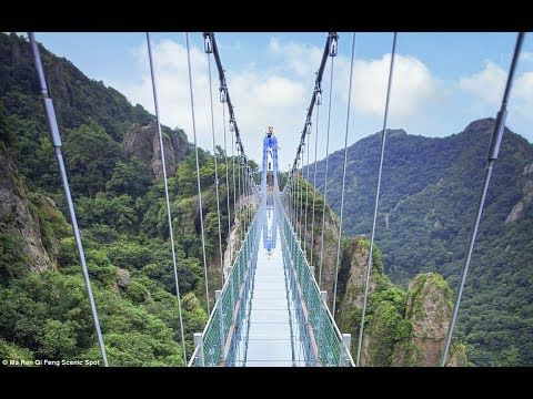 Amazing world's longest and highest glass-bottomed bridge. 玻璃橋 2017