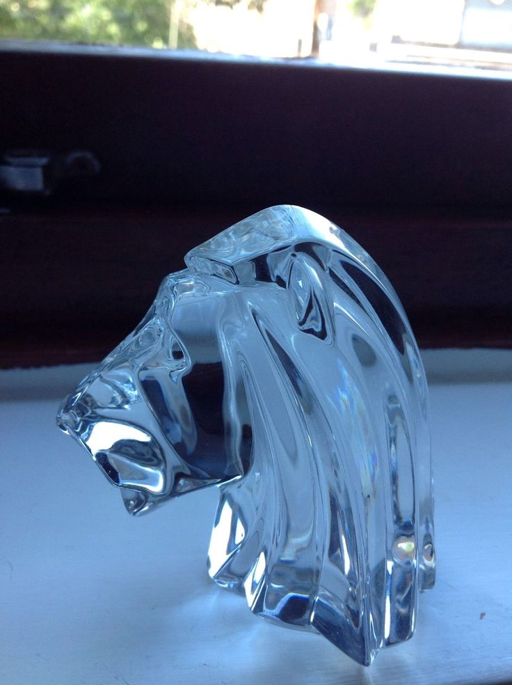 Glass Crystal Lion Head J G Durand French Rare & Beautiful Lion King | eBay
