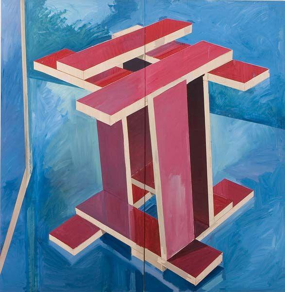 Manu Muniategiandikoetxea .- Mesa roja II Rodchenko nº 29. Acrílico sobre tabla, 250 x 250 cms, 2008  /source http://www.espaciominimo.es/muniategiandikoetxea-manu/