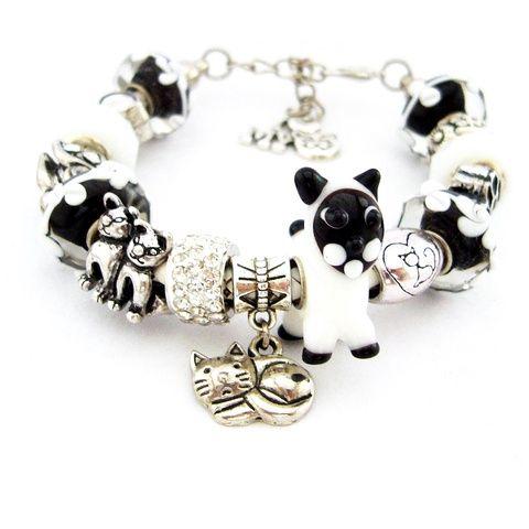 Egy sziámi bűvöletében... - fekete fehér karkötő pandora stílusban macskásoknak (ButterflyJew) - Meska.hu