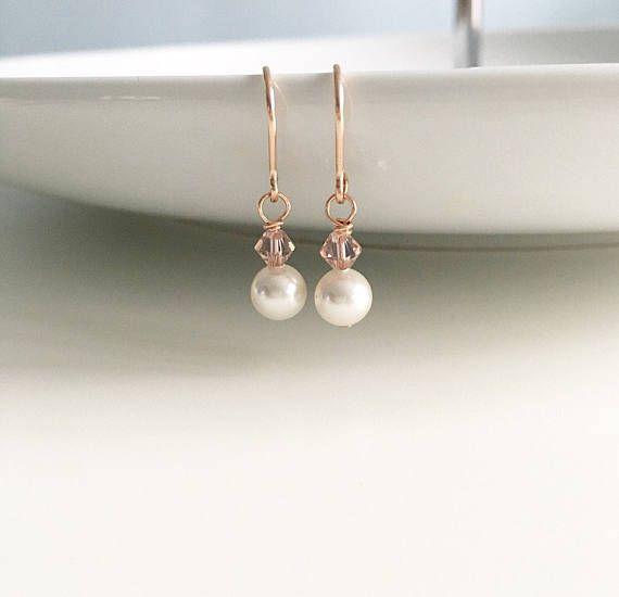 Blush wedding earrings rose gold bridal earrings blush