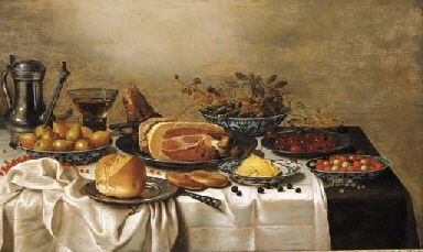 A pewter jug, a Berkemeyer, pears, peas and gooseberries, white currants, fraises-de-bois and butter in Wan-Li porcelain dishes, a leg of ham and a bun on pewter plates, a knife, blackberries and white currants on a draped table FLORIS VAN SCHOOTEN (CIRCA 1585/90-CIRCA 1655)