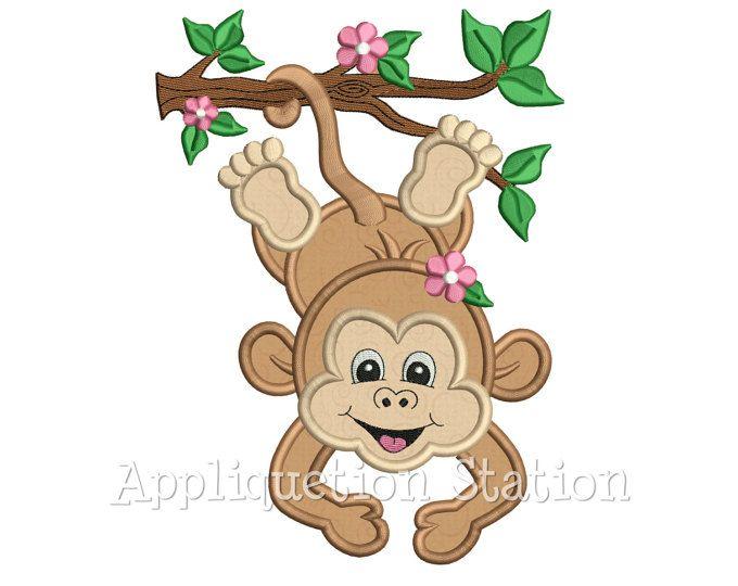 Animales bebé mono colgante rama chica apliques máquina bordado diseño selva Safari niño lindo zoológico DESCARGAR INSTANTÁNEA