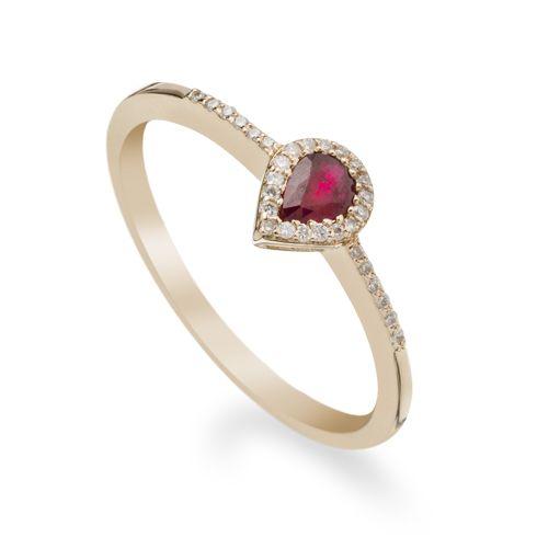 Inel cu rubin si diamante C579