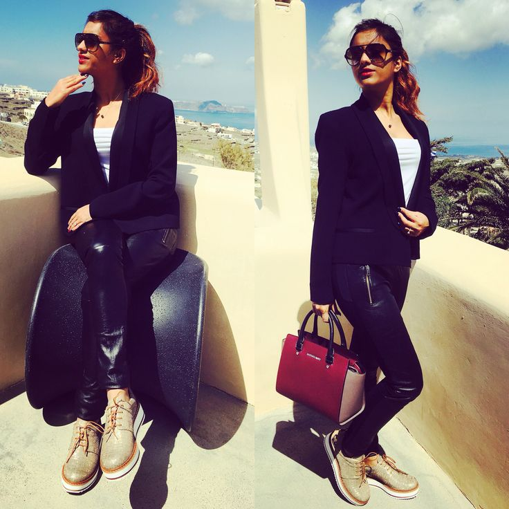 Spring Outfit White t-shirt with black blazer Leather black trousers Golden shining & white sneakers