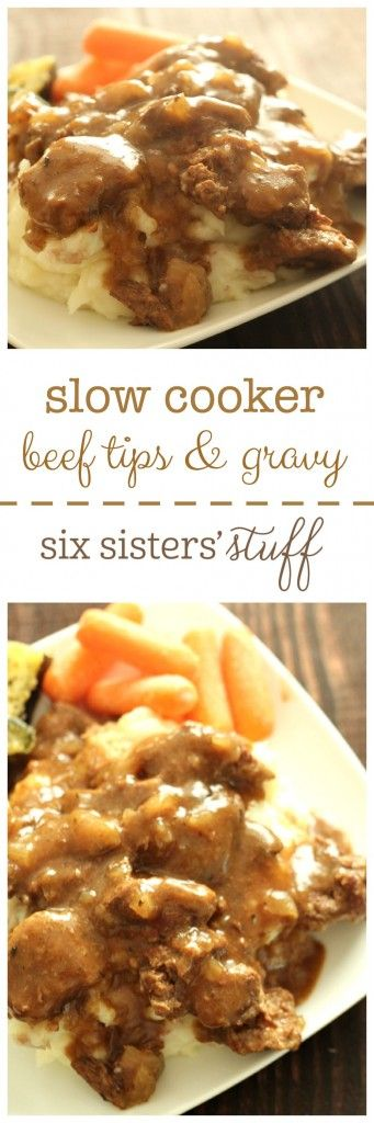 Slow Cooker Sirloin Beef Tips and Gravy from SixSistersStuff.com - so easy and so good over mashed potatoes!