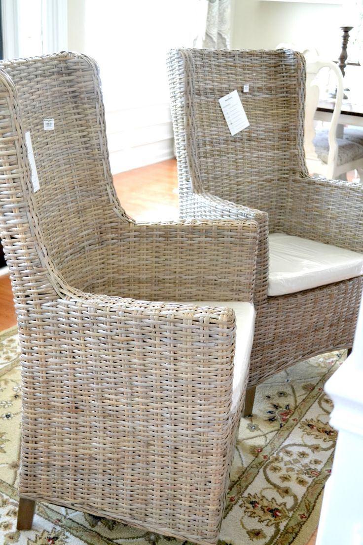 Cane chairs with cushions - World Market Wicker Chairs For The Head Of The Dining Tables