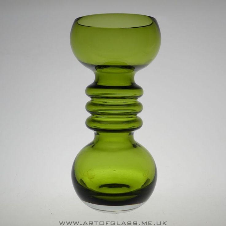 Riihimaki olive green glass vase