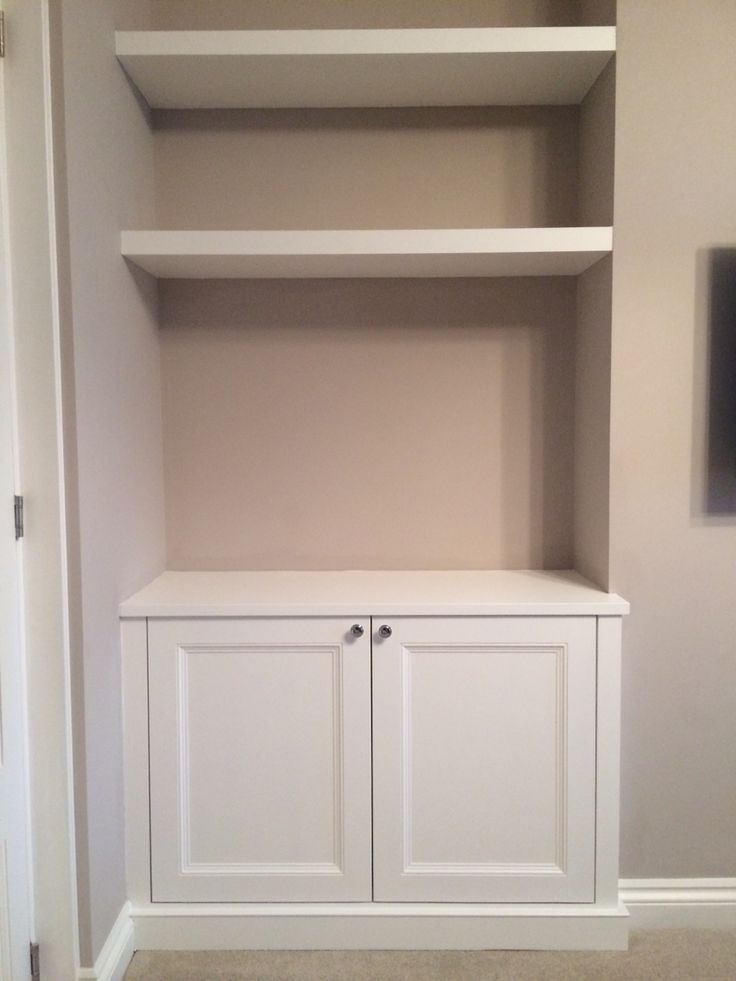 Alcove cupboard with floating shelves - for our nook? cupboard up to half wall then floating shelves?