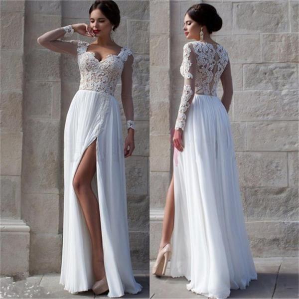 White Prom Dresses, Side Slit Prom Dresses,Elegant Prom Dresses,Custom Prom…