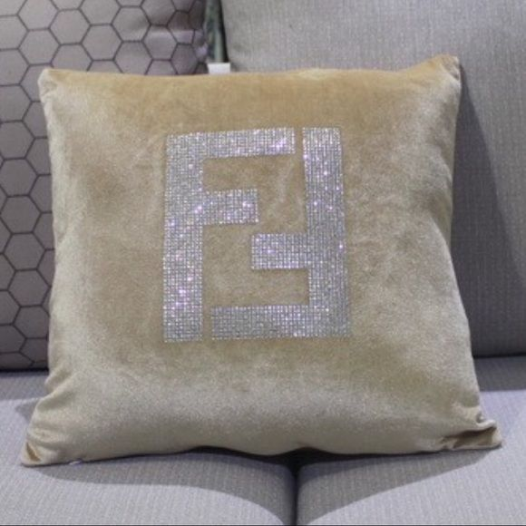 "COMING SOON FENDI logo velvet glitter pillow These fabulous ""FENDI"" velvet pillow cases will be arriving to our store in a few weeks!!! They come in a variety of colors and have FENDI logo on the front EMBELLISHED in rhinestones. They measure 18""X18"" and will absolutely dress up any sofa, bed, chair etc... PLEASE LET US KNOW WHAT YOU THINK❤️ FENDI Accessories"