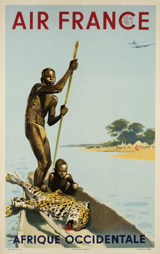 Rare 1949 original Air France poster for the West Africa, by Albert Brenet  (Yuck) ~Repinned Via Lars Aleth