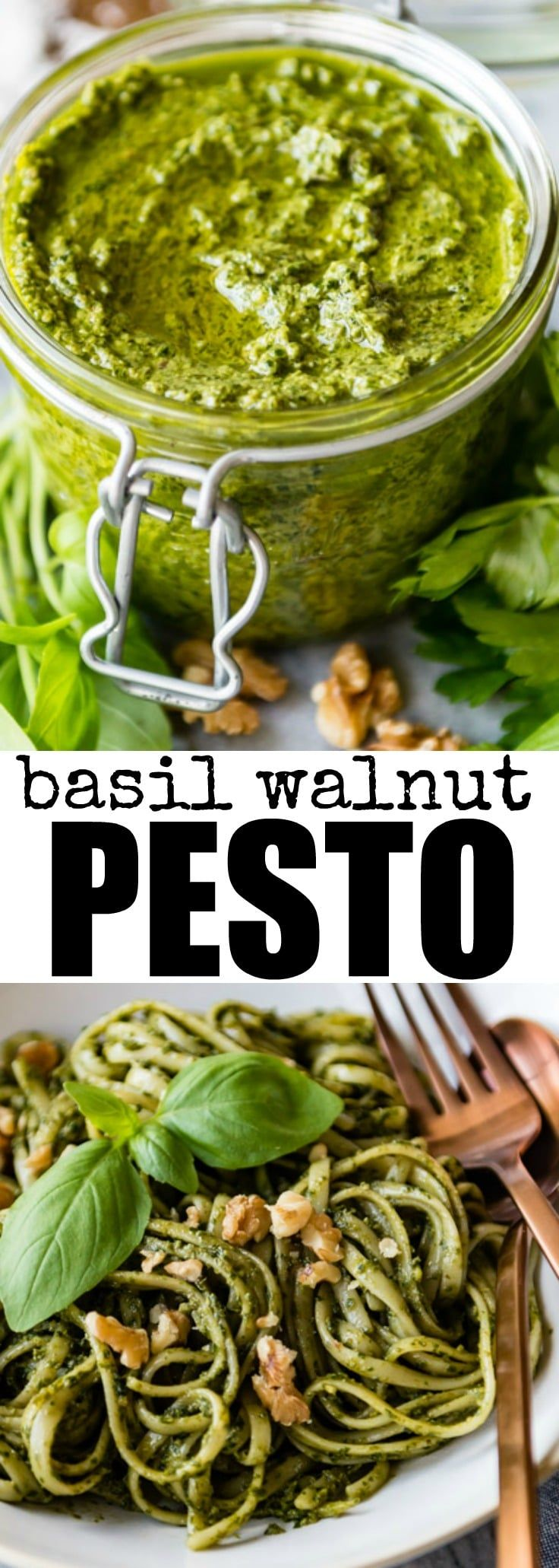 This Basil Walnut Pesto recipe comes together in 15 minutes with just 6 ingredients. Great for pasta, sandwich spreads, and garnishing soups!