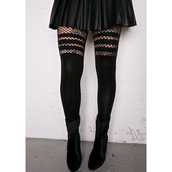 Get Faux Thigh-High Tights (185 MXN) ❤ liked on Polyvore featuring intimates, hosiery, tights, striped tights, fishnet stockings, thigh high hosiery, thigh high opaque tights and opaque thigh high stockings