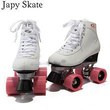 Japy patinar patines patines en linea blanca double double modelos femeninos de europa y américa f1 racing 4 ruedas de patines(China (Mainland))