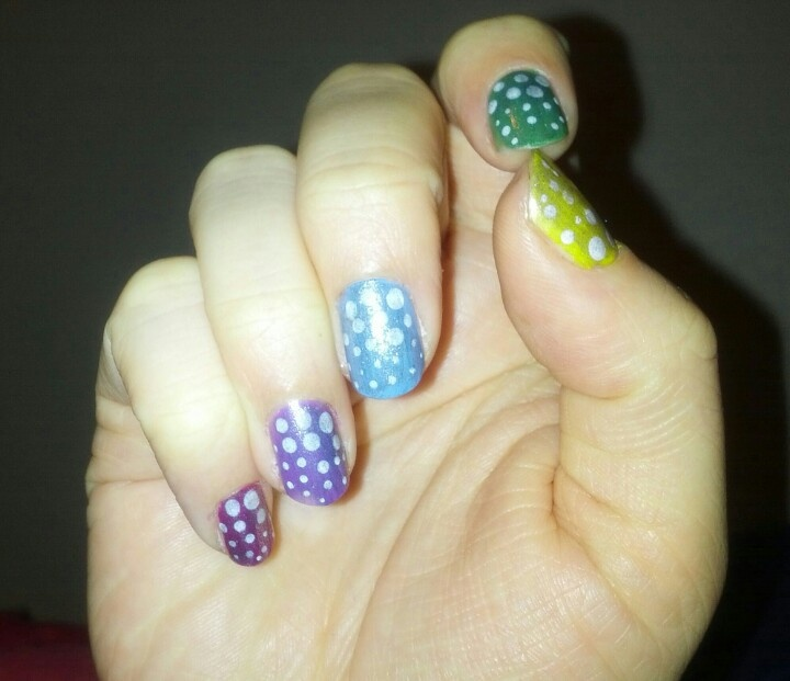 Rainbow with polka dots and silver glitter