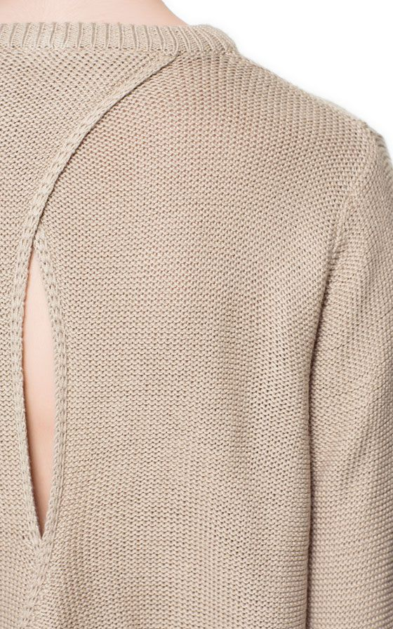 JUMPER WITH OPENING AT THE BACK - Knitwear - Woman - ZARA Germany  Such a gorgeous simple detail