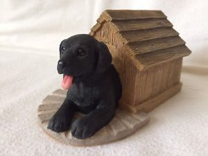 The Leonardo Collection Black Labrador Puppy In Kennel Collectible Figurine  | eBay