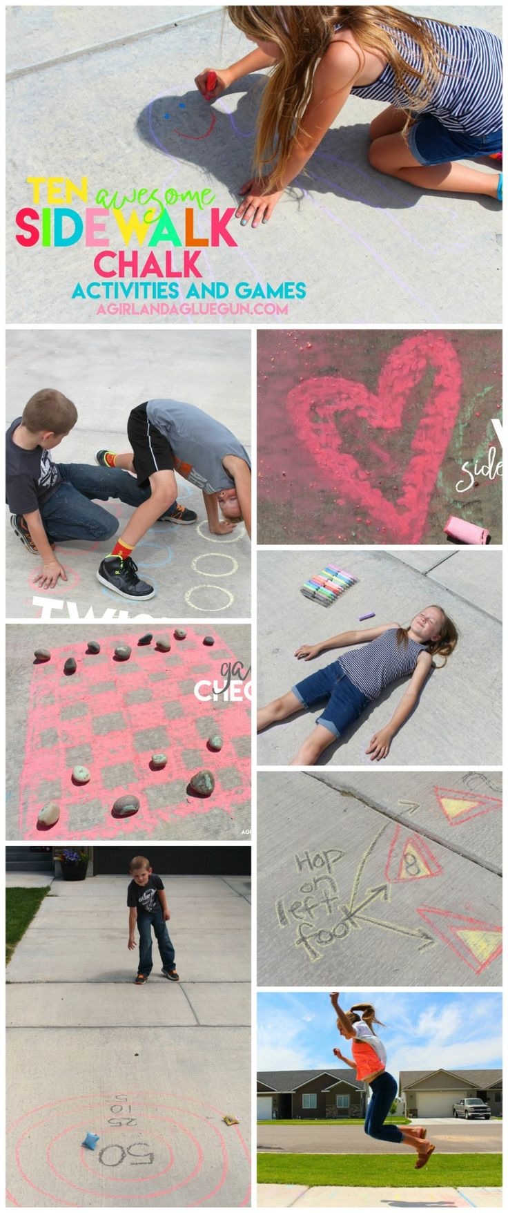 10 amazingly fun things to do this summer with sidewalk chalk--keep those kids busy and entertained