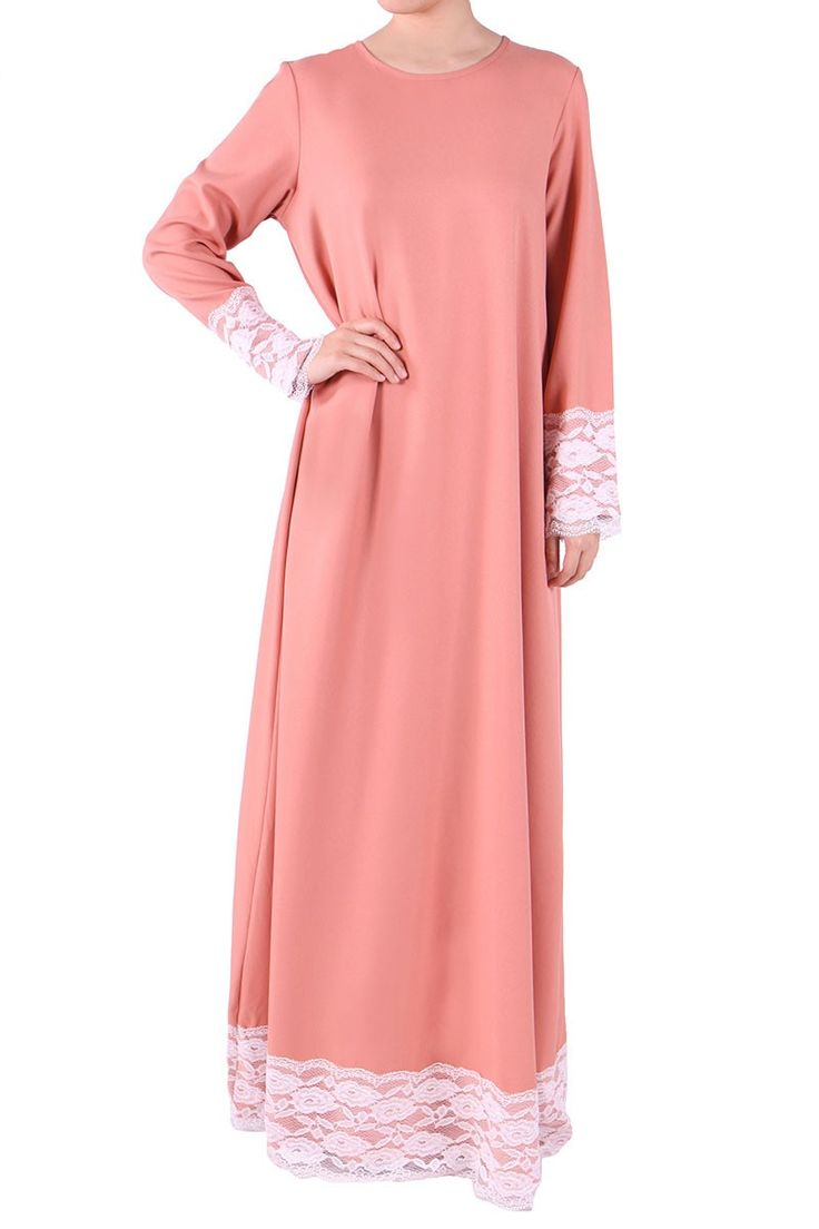 Deija Lace Jubah Dress - Peach
