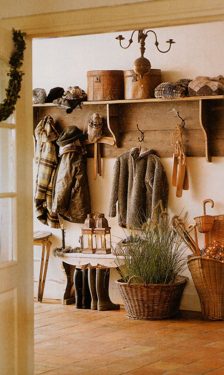 cottage entryway, coat rack- {on a smaller scale for wall between bathroom and kitchen across from garage door. For egg baskets, garden aprons, garden basket etc. One piece of wood from Lowes, with scrap pieces I have would probably do it}