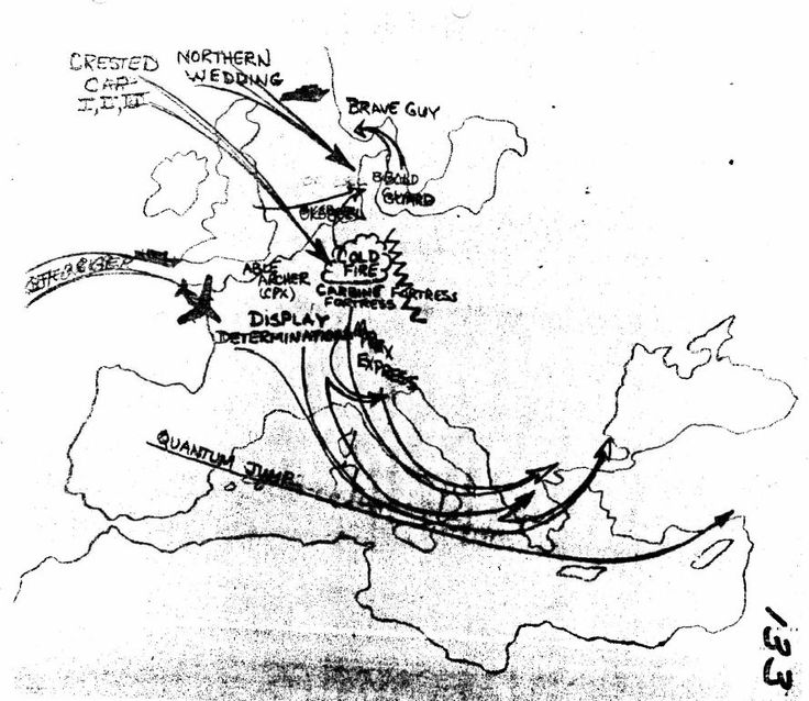 A map of Autumn Forge 83 war games. Able Archer 83 was the simulated nuclear climax to a conventional war. Note that the names of the exercises have been used as titles to each episode of the television show Deutschland 1983.