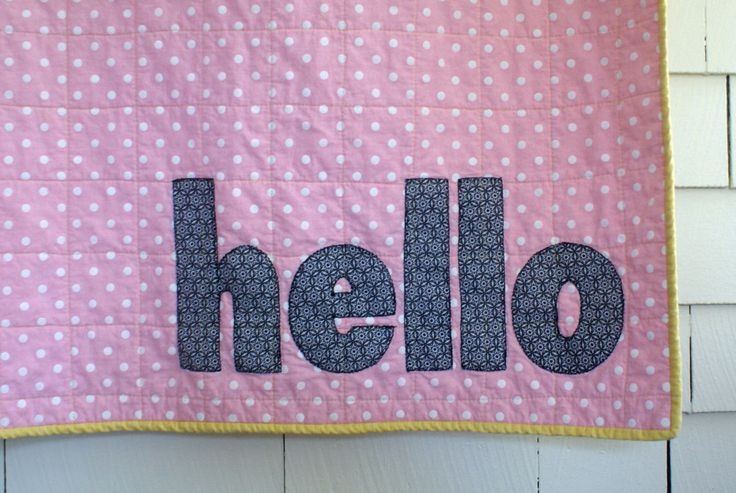 Pink and White Polk Dot Yellow Hello Quilt Minky Dot Newborn Baby Toddler by TelltaleThread on Etsy