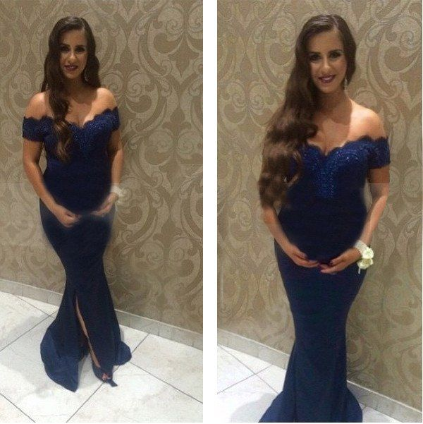 Navy Blue Maternity Evening Dresses Plus Size Long Mermaid Party Gown