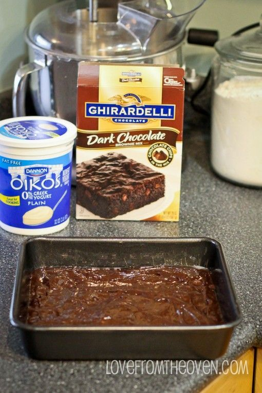 I shared this recipe with a lady in the Wal-Mart checkout line today! Brownies made With Greek yogurt --sub the oil w/ yogurt