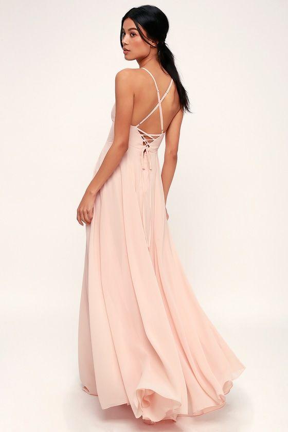 8c8247797e8c8 Lovely Blush Pink Dress - Maxi Dress - Lace-Up Dress - Gown
