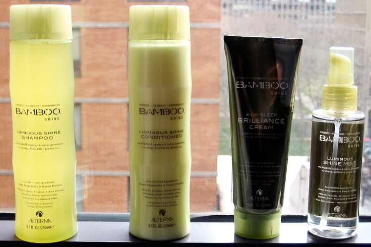 Alterna Bamboo Luminous Shine : Shampoo, Conditioner, Creme, and Shine Mist. This line is totally amazing - my hair has never felt this soft and silky before. All eco-certified ingredients, grown responsibly, traded ethically.