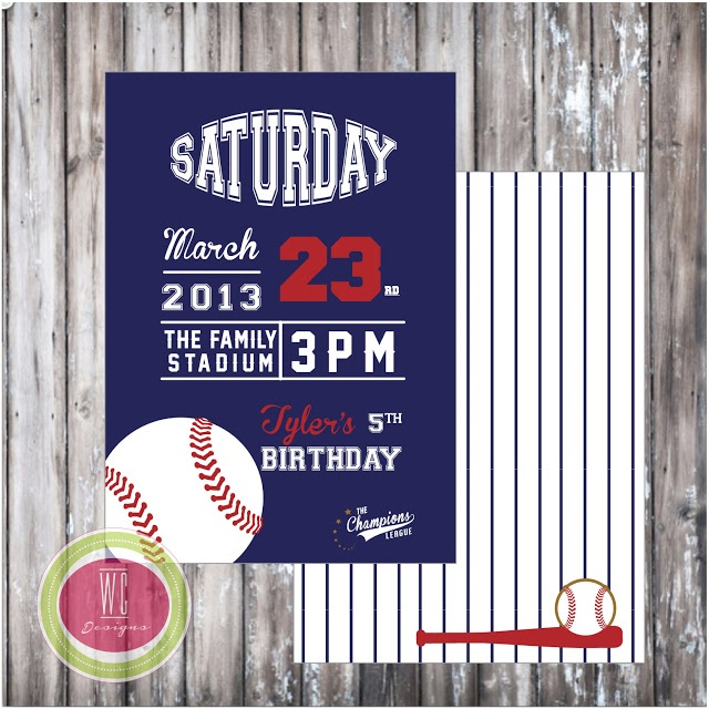 BASEBALL INVITATION #custominvitation #partyprintables #baseballparty #wcdesigns