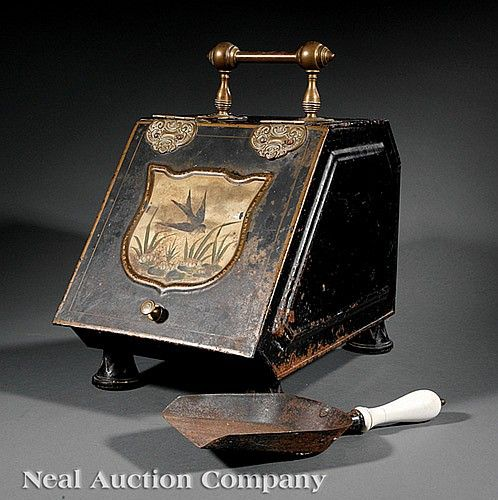 A Victorian Tole Peinte and Parcel Gilt Coal Hod, 19th c., brass hardware, the reserve painted with a swallow flying over lily pads, removable liner, retains shovel with porcelain handle . Provenance: Estate of James Fenimore Cooper IV