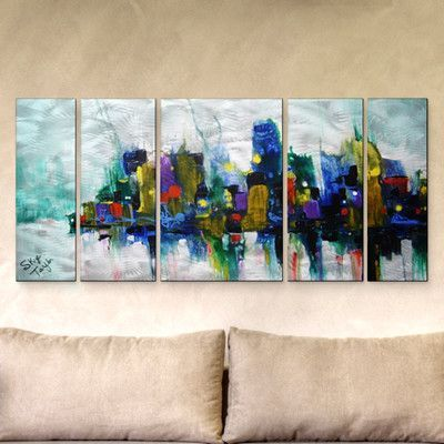 All My Walls 'Chicago Storm' by Skye Taylor 5 Piece Painting Print Plaque Set