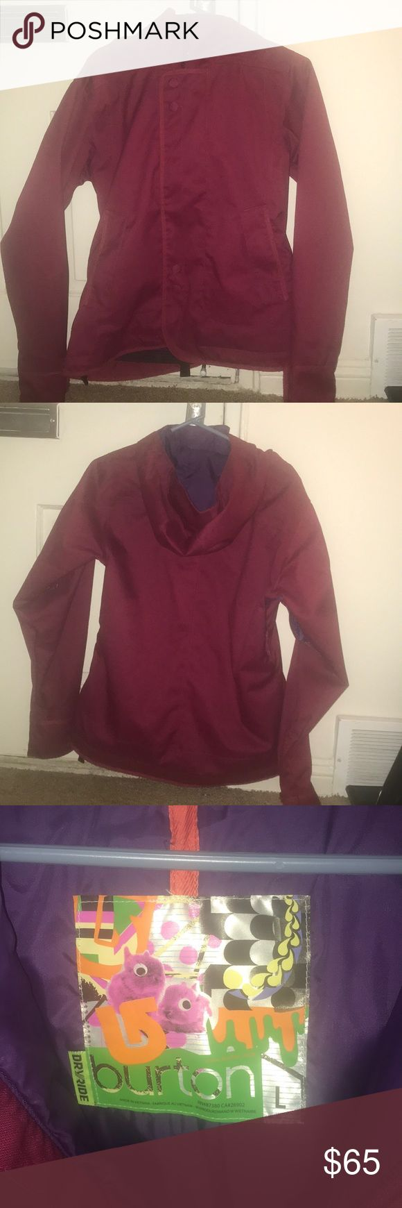 Winter jacket, Burton Dry ride, Size L Burton Dry ride snow boarding jacket Raspberry color, zipper with Velcro  snaps for  around waist assumed for better fit during ride  Worn Twice Perfect condition Burton Jackets & Coats