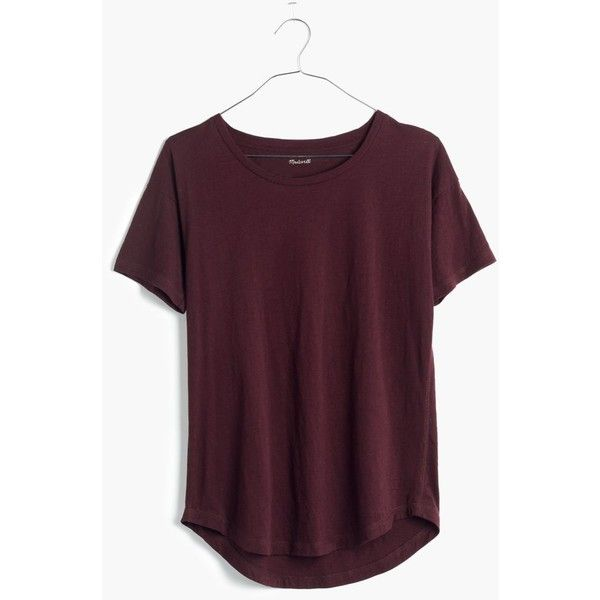 MADEWELL Slub Crewneck Tee ($27) ❤ liked on Polyvore featuring tops, t-shirts, shirts, tees, short sleeves, chocolate raisin, crew neck shirt, cotton t shirt, short sleeve cotton shirts and crew neck tee