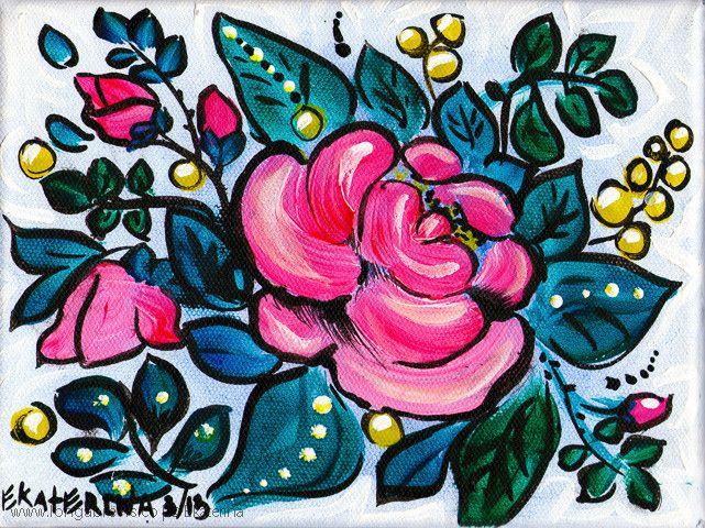 Folk Art Small Flower Painting on Canvas - Pink Rose Artwork