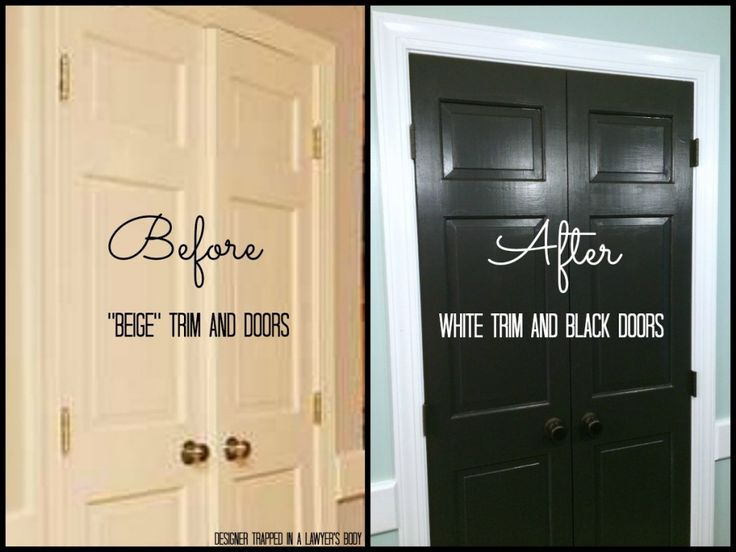 Painted trim and doors can make a HUGE impact!  Full details by Designer Trapped in a Lawyer's Body {www.designertrapped.com}