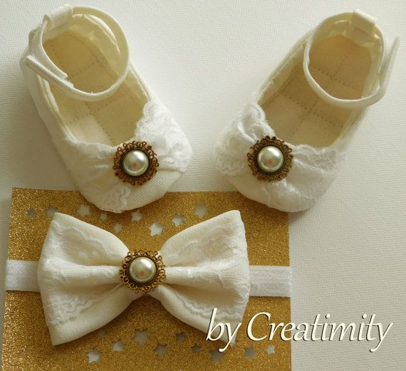 Ivory baby girl shoesflower girl by CreatimityElegance on Etsy