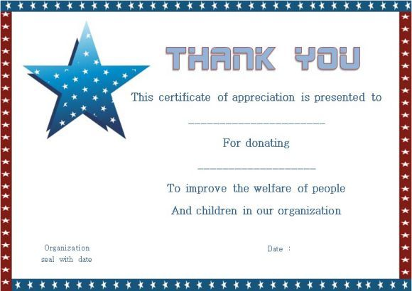 thank you certificates for donation