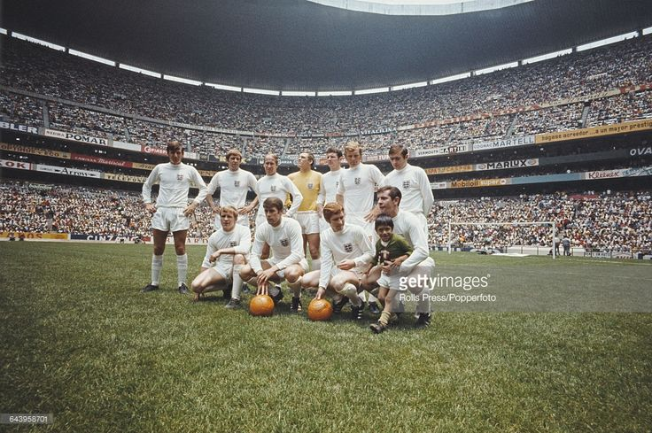 The England national football team posed together inside the Azteca Stadium in Mexico City prior to their International Friendly game against Mexico on 1st June 1969. The game would end 0-0. Back row from left to right: Martin Peters, Keith Newton, Bobby Charlton, Gordon West, Brian Labone, Bobby Moore and Terry Cooper. Front row from left to right: Francis Lee, Geoff Hurst, Alan Ball and Alan Mullery.
