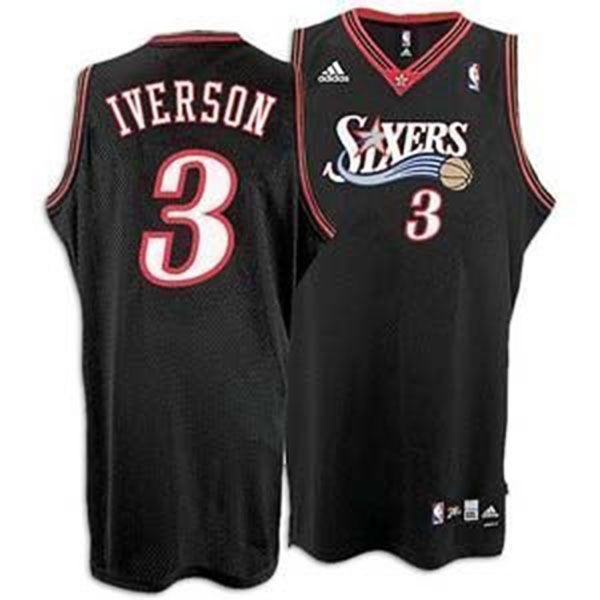 ... Philadelphia 76ers 3 Black Swingman Jersey. Stitched name and NBA  Reebok Authentics Team Apparel Allen Iverson 3 Sixers Red Basketball Jersey  Size L ... 03ad54293