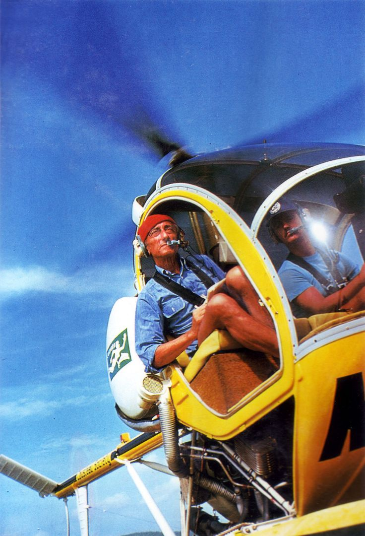 Jacques Cousteau in his helicopter