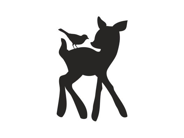 Forest Critters Chalkboard Deer and Bird Vinyl Wall Decal