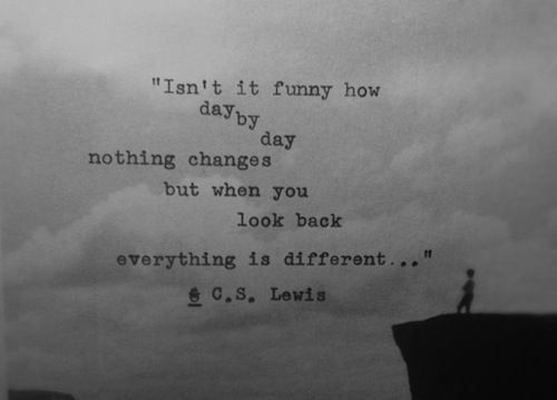 """Isn't it funny how day by day nothing changes, but when you look back, everything is different.""  C.S. Lewis"