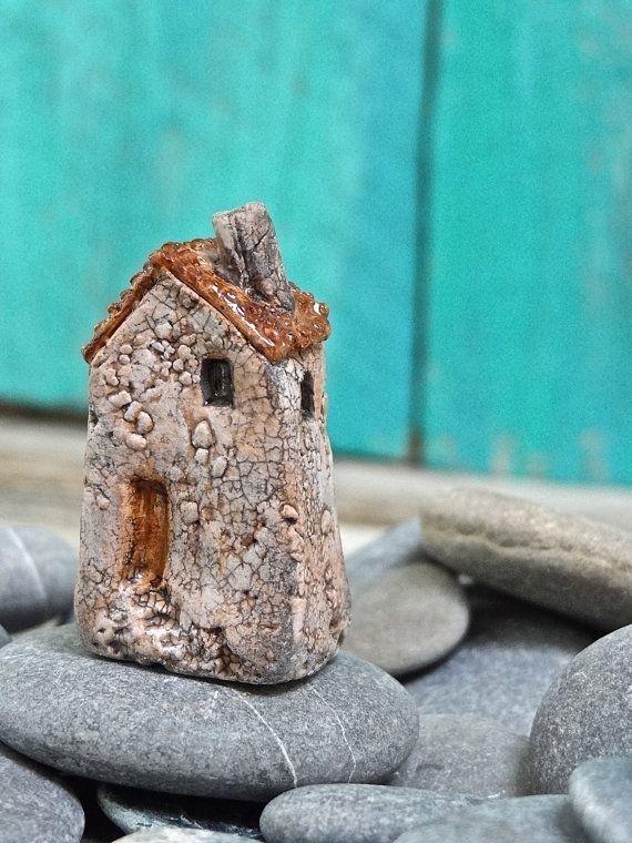 Miniature old crackled house, Italian village- OOAK ceramic mini handmade sculpture