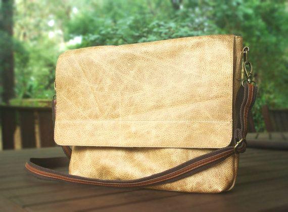 NEW Vintage Camel Leather brown messenger bag, Leather mens bag, Mens leather bag, Lined leather bag Large Messenger Bag Vintage leather bag