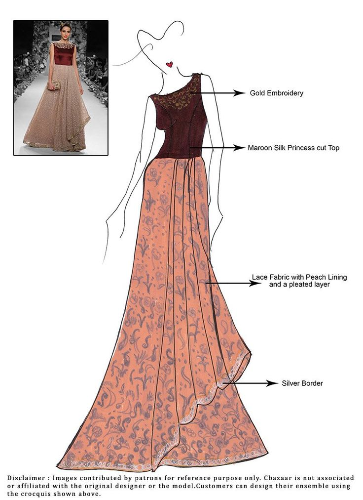 DIY Peach Lace Lehenga Choli