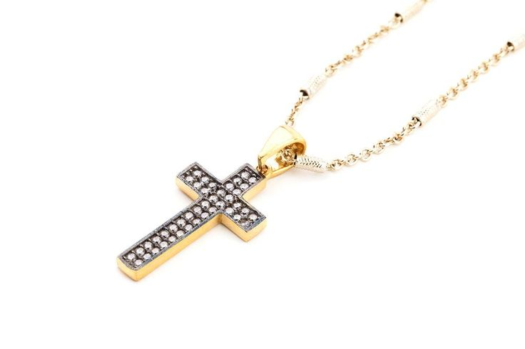 NOAH Crystal Cross with Bronze Necklace