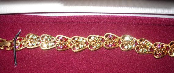 Jackie Kennedy GP Bracelet 24K Hearts with Stones Box and